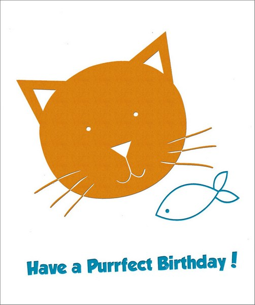 Cat and Fish Foil Birthday (1 card/1 envelope) - Birthday Card - FRONT: Have a Purrfect Birthday!  INSIDE: Happy Birthday!