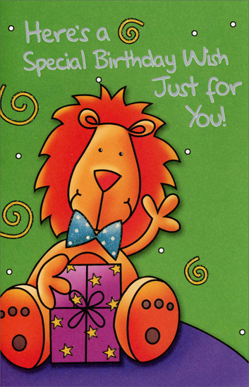 Lion with Present (1 card/1 envelope) Freedom Greetings Kid's Birthday Card - FRONT: Here's a Special Birthday Wish Just for You!  INSIDE: When it's time to blow the candles out, Hope your wish comes true -- 'cause birthdays should be magic for a kid as neat as you!