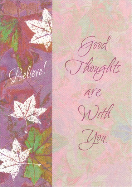 Purple Believe Leaves Bookmark (1 card/1 envelope) Freedom Greetings Inspirational Encouragement Card - FRONT: Believe! Good Thoughts are With You  INSIDE: Whenever the heart believes goodness seems to shine. Believing in You