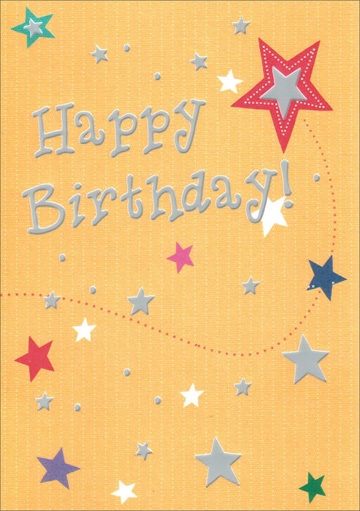 Yellow Birthday Stars (1 card/1 envelope) Freedom Greetings Teen Birthday Card - FRONT: Happy Birthday!  INSIDE: Let's Celebrate!