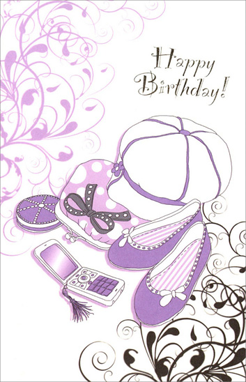 Purple Fashion (1 card/1 envelope) Freedom Greetings Teen Birthday Card - FRONT: Happy Birthday!  INSIDE: Hope your birthday is really great and that it's the beginning of one of your happiest years ever!
