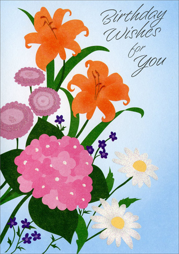 White Daisy & Orange Lily Bouquet (1 card/1 envelope) Freedom Greetings Birthday Card - FRONT: Birthday Wishes for You  INSIDE: May your birthday be just the beginning of a perfect year filled with joy and happiness. Happy Birthday