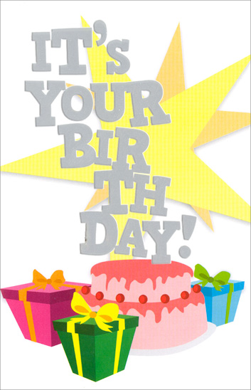 Stars Cake and Presents (1 card/1 envelope) Freedom Greetings Birthday Card - FRONT: It's Your Birthday!  INSIDE: Celebrate!