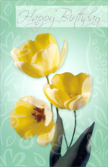 Yellow Blooming Tulips (1 card/1 envelope) Freedom Greetings Birthday Card - FRONT: Happy Birthday  INSIDE: May your birthday be filled with life's wonders� the simple joys that make the world so beautiful.