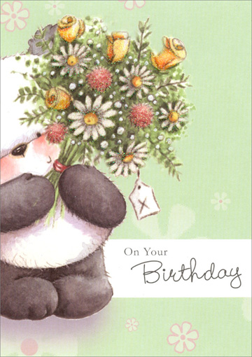 Panda Holding Bouquet of Flowers (1 card/1 envelope) - Birthday Card - FRONT: On Your Birthday  INSIDE: Take the time to do the things you enjoy the most! Happy Birthday
