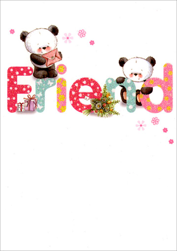 Panda Friend Birthday (1 card/1 envelope) Freedom Greetings Birthday Card - FRONT: Friend  INSIDE: Birthday wishes to a wonderful friend - Happy Birthday!