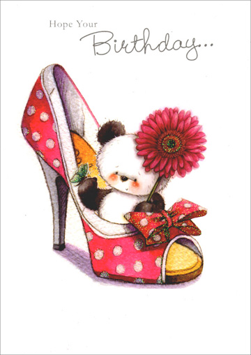 Panda in Large High Heel Shoe (1 card/1 envelope) Freedom Greetings Birthday Card - FRONT: Hope your Birthday�  INSIDE: �is filled with sweet surprises! Happy Birthday!