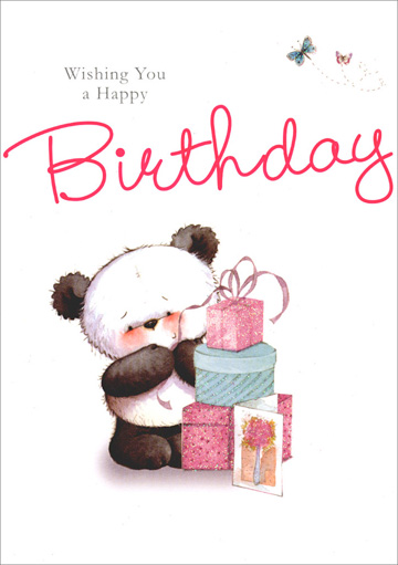 Panda Near Stack of Presents (1 card/1 envelope) - Birthday Card - FRONT: Wishing You a Happy Birthday  INSIDE: What fun you will have! What a day it will be! It's going to be special� just wait and see! Happy Birthday!