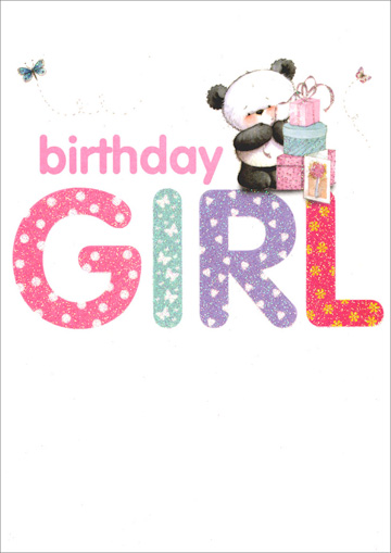 Panda Beside Presents Girl (1 card/1 envelope) Freedom Greetings Birthday Card - FRONT: Birthday Girl  INSIDE: Whatever you wish for, whatever you do, Here's hoping your birthday's as special as you! Happy Birthday!