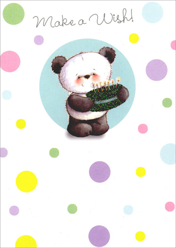 Panda Holding Cake (1 card/1 envelope) - Birthday Card - FRONT: Make a Wish!  INSIDE: Hope they all come true! Happy Birthday!