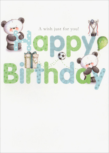 Pandas Hiding Behind Letters (1 card/1 envelope) - Birthday Card - FRONT: A wish just for you! Happy Birthday  INSIDE: Now that your birthday is here it means a lot to wish you a happy day and an even happier year! Happy Birthday!