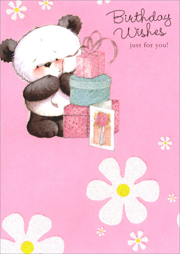 Panda, Presents & White Flowers (1 card/1 envelope) Freedom Greetings Birthday Card - FRONT: Birthday Wishes just for you!  INSIDE: I hope all of your wishes come true! Happy Birthday!