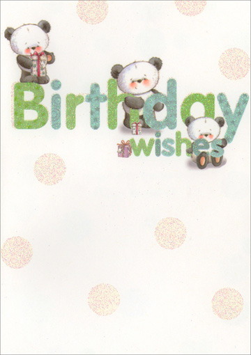 Pandas with Glitter Polka Dots (1 card/1 envelope) Freedom Greetings Birthday Card - FRONT: Birthday wishes  INSIDE: Especially for You! Happy Birthday!