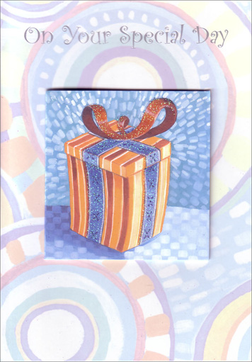 Orange Present with Blue Ribbon (1 card/1 envelope) Freedom Greetings Birthday Card - FRONT: Happy Birthday  INSIDE: Unwrap a day of fun and celebration. Happy Birthday!