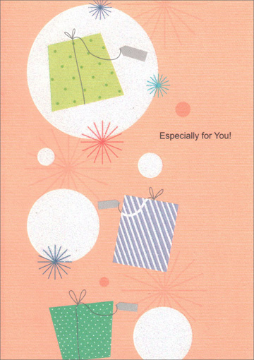 Presents with White Polka Dots (1 card/1 envelope) Freedom Greetings Birthday Card - FRONT: Especially for You!  INSIDE: Happiness to you on your birthday and always.