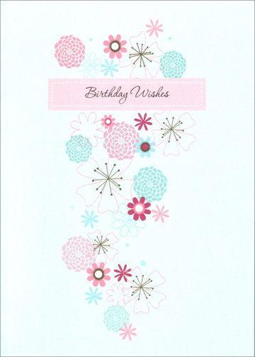 Drawn Flowers on Blue (1 card/1 envelope) Freedom Greetings Birthday Card - FRONT: Birthday Wishes  INSIDE: Especially for you!