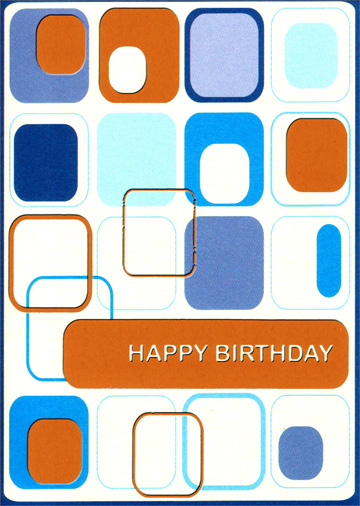 Retro Blue and Orange Squares (1 card/1 envelope) Freedom Greetings Birthday Card - FRONT: Happy Birthday  INSIDE: With best wishes always.