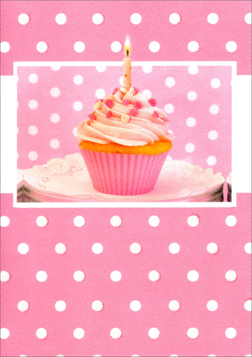 Pink Cupcake with Polka Dots (1 card/1 envelope) Freedom Greetings Birthday Card  INSIDE: Happy Birthday!