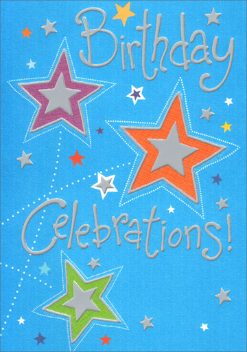 Stars and Dots on Blue (1 card/1 envelope) Freedom Greetings Birthday Card - FRONT: Birthday Celebrations!  INSIDE: Wishing you all the best on your Birthday. Happy Birthday