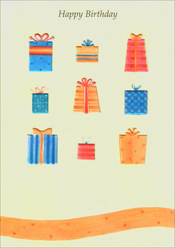 Nine Embossed Presents (1 card/1 envelope) - Birthday Card - FRONT: Happy Birthday  INSIDE: �to you!