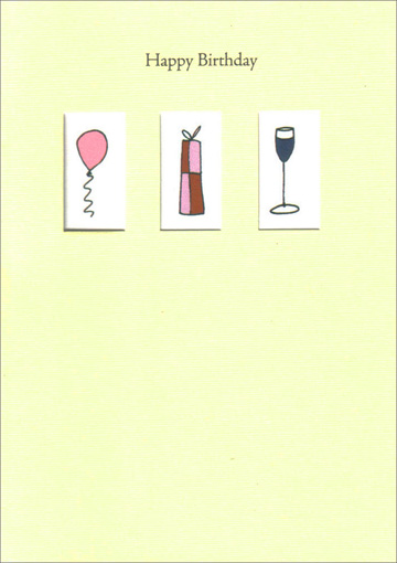 3 Windows Balloon Present Wine (1 card/1 envelope) Freedom Greetings Birthday Card - FRONT: Happy Birthday  INSIDE: �to You!