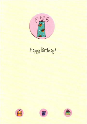 Present in Die Cut Circle (1 card/1 envelope) Freedom Greetings Birthday Card - FRONT: Happy Birthday!