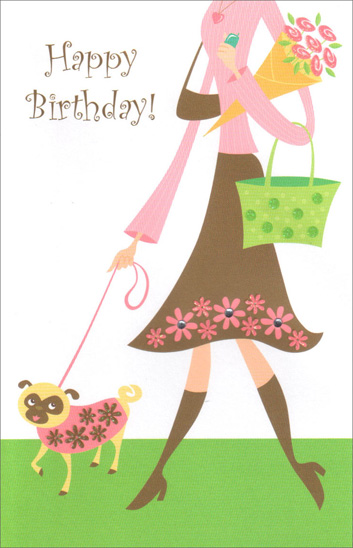 Woman Walking Dog (1 card/1 envelope) Freedom Greetings Birthday Card - FRONT: Happy Birthday!  INSIDE: A breath of fresh air, some time just for you, plenty of wonderful wishes come true, a sweet year ahead with adventures in store� Hoping your birthday brings all this and more!