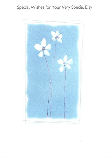 Three White Flowers (1 card/1 envelope) - Birthday Card - FRONT: Special Wishes for Your Very Special Day  INSIDE: Happy Birthday!