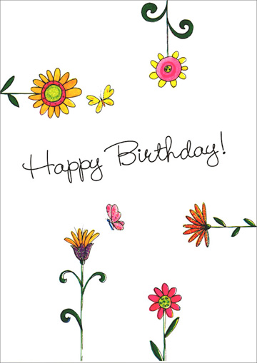 Flowers On All Sides (1 card/1 envelope) Freedom Greetings Birthday Card - FRONT: Happy Birthday!  INSIDE: Your birthday is a very special day� It's the kind of person you are that makes this such a special day!