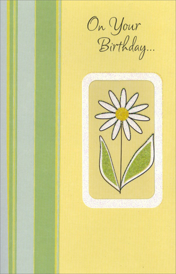 White Daisy in Die Cut Window (1 card/1 envelope) Freedom Greetings Birthday Card - FRONT: On your Birthday�  INSIDE: Celebrate the beauty of tender memories� The loveliness of sincere wishes� The joy of dreams come true. Happy Birthday