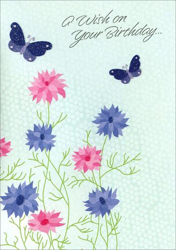 Purple Pink Flowers and Butterflies (1 card/1 envelope) Freedom Greetings Birthday Card - FRONT: A Wish on your Birthday�  INSIDE: Wishing you a day that brings beauty into your world, happiness into your life.