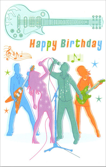Guitar Band (1 card/1 envelope) Freedom Greetings Belated Birthday Card - FRONT: Happy Birthday  INSIDE: Sorry this is late… Hope your birthday was great!