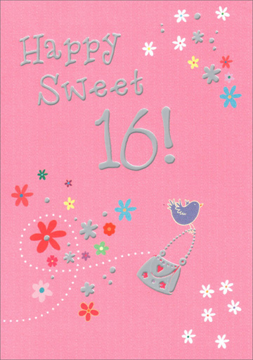 Sweet Sixteen Bird Carrying Purse (1 card/1 envelope) Freedom Greetings Sweet 16 Birthday Card - FRONT: Happy Sweet 16!  INSIDE: Enjoy Your Special Day!