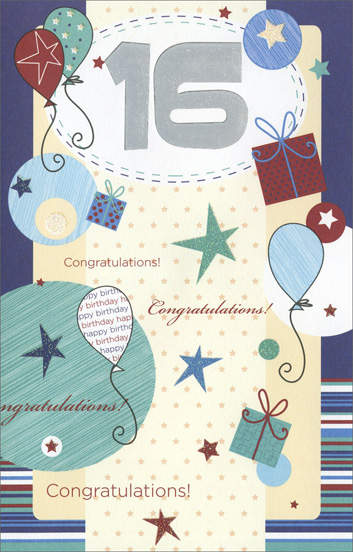 16th Balloons Stars and Presents (1 card/1 envelope) - Birthday Card - FRONT: Congratulations! 16  INSIDE: Happy 16th Birthday! Congratulations!