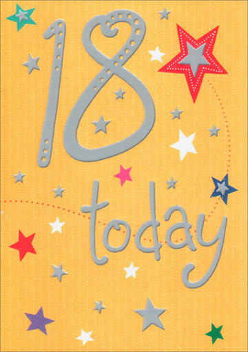 Stars 18 Today (1 card/1 envelope) Freedom Greetings 18th Birthday Card - FRONT: 18 today  INSIDE: Have a really great day! Happy Birthday