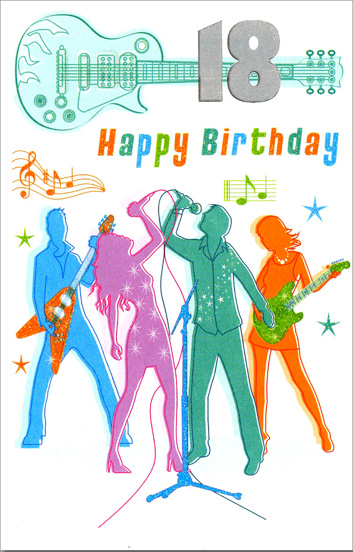 Guitar Band 18th Birthday (1 card/1 envelope) Freedom Greetings 18th Birthday Card - FRONT: 18 Happy Birthday  INSIDE: You're 18 at last! This calls for celebration!!