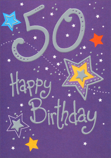 Fiftieth Birthday Stars (1 card/1 envelope) Freedom Greetings 50th Birthday Card - FRONT: 50 Happy Birthday  INSIDE: Enjoy your special day. Happy Birthday