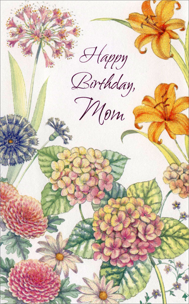 Wildflowers (1 card/1 envelope) Freedom Greetings Mother Birthday Card - FRONT: Happy Birthday, Mom  INSIDE: Hope your birthday's amazing� just like you, Mom. Enjoy!