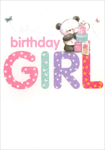 Girl Panda With Stack of Presents (1 card/1 envelope) Freedom Greetings Sister Birthday Card - FRONT: birthday GIRL  INSIDE: Happy birthday, Sister Enjoy your special day!