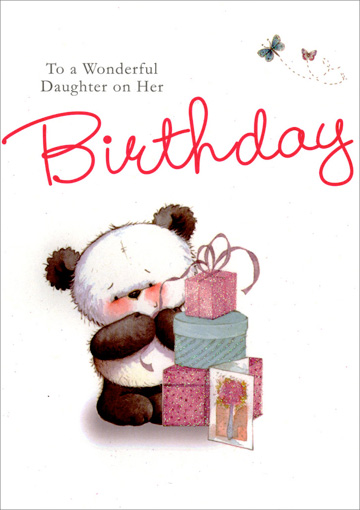Panda with Stack of Presents (1 card/1 envelope) Freedom Greetings Daughter Birthday Card - FRONT: To a Wonderful Daughter on Her Birthday  INSIDE: Your birthday is a special day because it belongs to you� A daughter who is loved so much each day all year through! Happy Birthday with Love