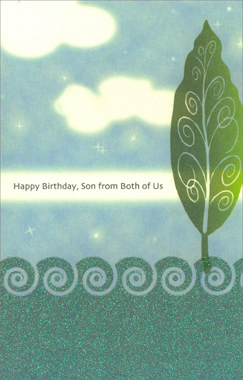 Water, Sky, & Tree for Son (1 card/1 envelope) - Birthday Card - FRONT: Happy Birthday, Son from Both of Us  INSIDE: Ever since you were a boy, you've filled our lives with pride and joy. Happy Birthday, Son