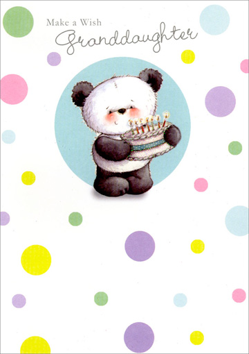 Panda with Cake (1 card/1 envelope) Freedom Greetings Granddaughter Birthday Card - FRONT: Make a Wish Granddaughter  INSIDE: I hope all of your wishes come true. Happy Birthday with Love!