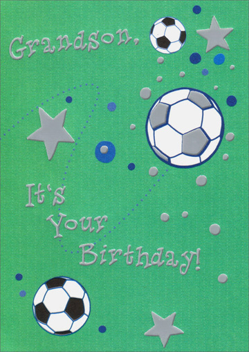 bouncing soccer balls  card/ envelope freedom greetings, Birthday card