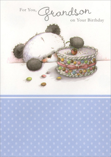 Grandson Panda Decorating Cake (1 card/1 envelope) Freedom Greetings Birthday Card - FRONT: For You, Grandson on Your Birthday  INSIDE: Hope your birthday is fun and exciting� Just one good thing after another! Happy Birthday!