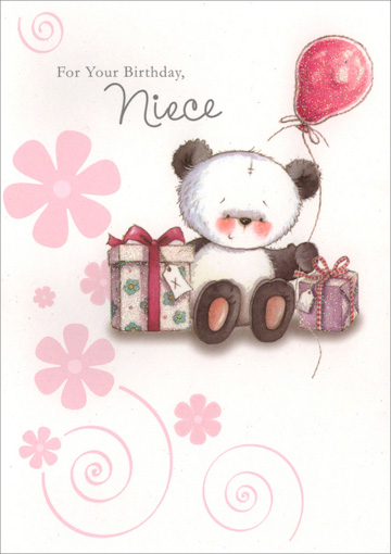 Panda Holding Balloon for Niece (1 card/1 envelope) Freedom Greetings Niece Birthday Card - FRONT: For Your Birthday, Niece  INSIDE: Birthday wishes to a wonderful niece! Happy Birthday!