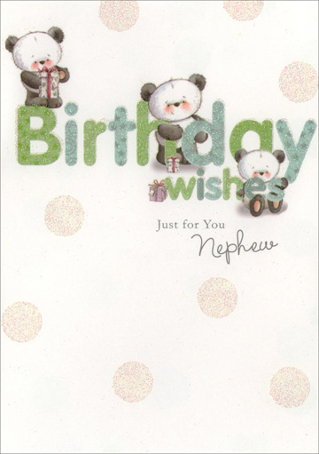 Pandas Behind Letters for Nephew (1 card/1 envelope) Freedom Greetings Nephew Birthday Card - FRONT: Birthday wishes Just for You Nephew  INSIDE: I hope all of your wishes come true! Happy Birthday!