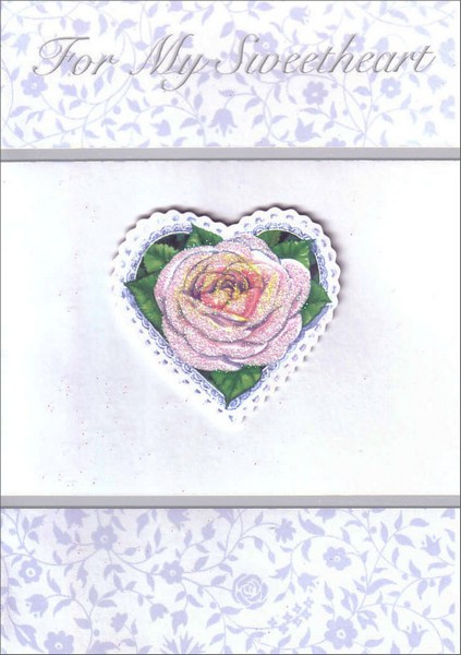 Glittery Rose Tip On for Sweetheart (1 card/1 envelope) - Birthday Card - FRONT: For My Sweetheart  INSIDE: The love that fills my heart today is deeper than any words can say� Happy Birthday I Love You