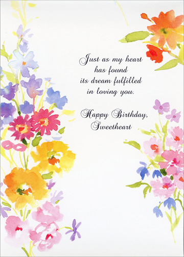 Watercolor Flowers For Sweetheart Birthday Card By Freedom Greetings
