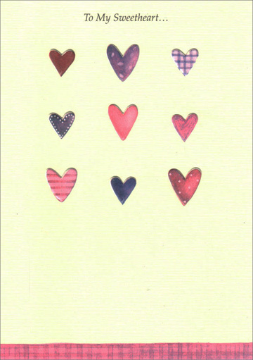 Nine Hearts for Sweetheart (1 card/1 envelope) Freedom Greetings Sweetheart Birthday Card - FRONT: To My Sweetheart�  INSIDE: �Happy Birthday with All of My Love.