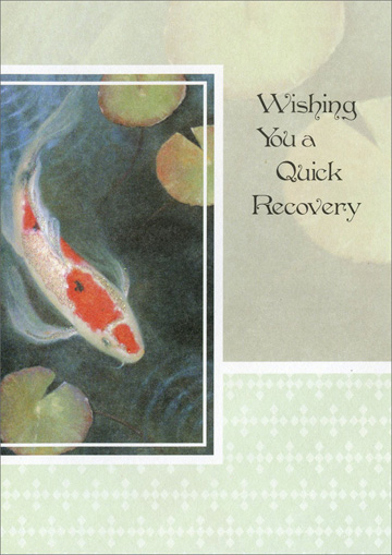 Fish Swimming in Pond (1 card/1 envelope) Freedom Greetings Get Well Card - FRONT: Wishing You a Quick Recovery  INSIDE: Just can't stop wishing� just can't stop hoping� that you will soon be well!